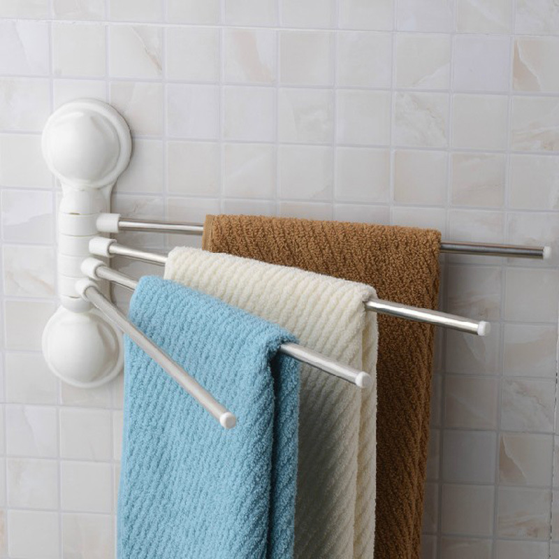 Wholesale double celebration <font><b>powerful</b></font> <font><b>suction</b></font> <font><b>cup</b></font> towel rack <font><b>stainless</b></font> <font><b>steel</b></font> bathroom towel rack rotating four can be linked to