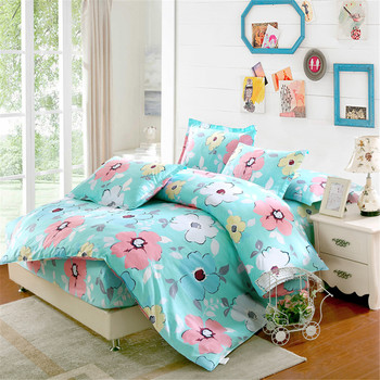100%cotton Vivid Flower Print Floral green Bedding Sets Pastoral Style Duvet Cover fitted Sheet Pillowcases 4pcs twin queen size