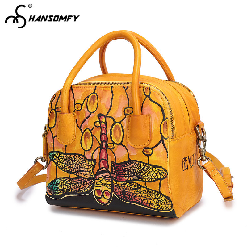 Original vintage suede leather hand painted dragonfly Women Handmade handbag Female zipper shoulder bag ladies messenger Bags