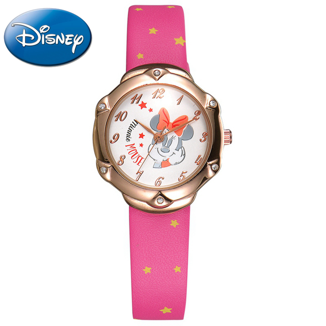Minnie mouse cartoon cuties PU rhinestone good watch Preety Clever girls princess fashion Kid lovely simple watches Disney 11040