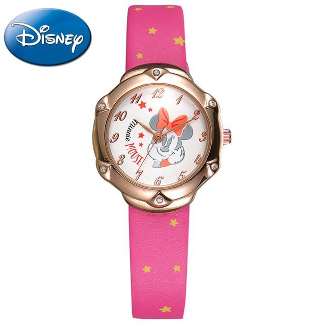 Minnie mouse cartoon cuties PU rhinestone good watch Preety Clever girls princess fashion Kid lovely simple watches Disney 11040