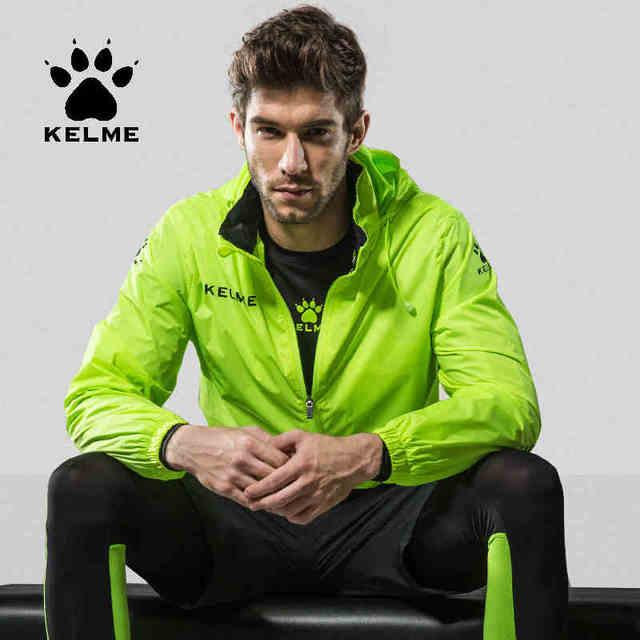 KELME erkekler gizli Hoodie ceket sonbahar futbol spor eğitim ceketi rüzgar geçirmez ve su geçirmez açık eşofman K15S604