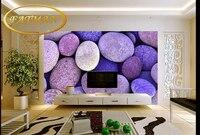 مخصصة 3d صور خلفيات الأرجواني الحصى الحجر الطبيعي الصوتية للماء خلفية جدارية غرفة المعيشة بسيطة