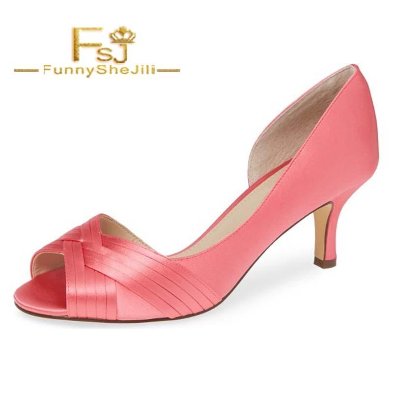 Pink Satin Peep Toe Kitten Heel D'orsay Wedding Shoes