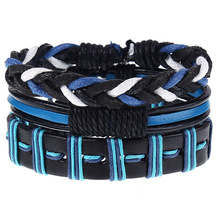 Genuine Leather Braided Bracelet Bangle for Men Summer Casual Bracelets Mens Handmade Layered Set 3pcs/Set