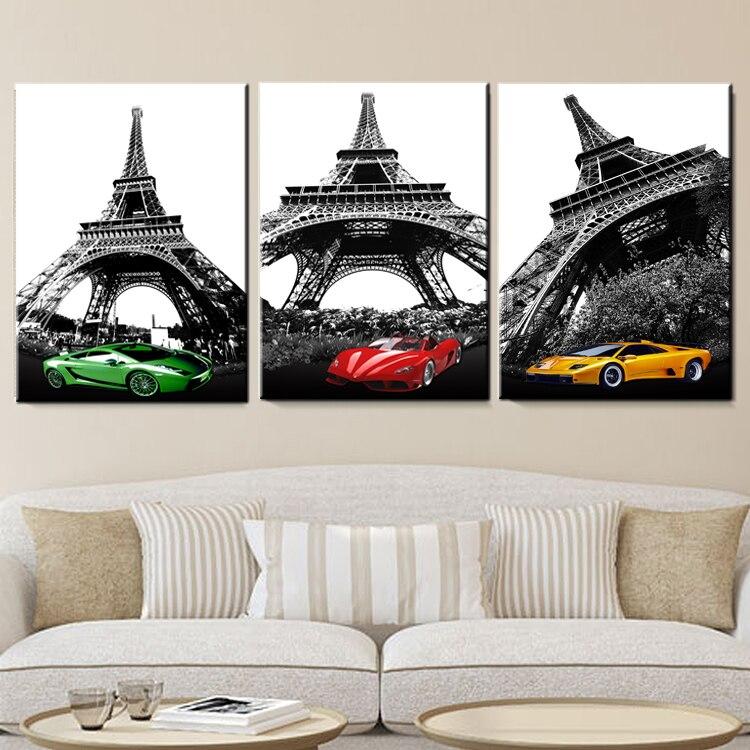 Paris Eyfel Qülləsi idman maşını Modul şəkillər rəsm Kətan - Ev dekoru