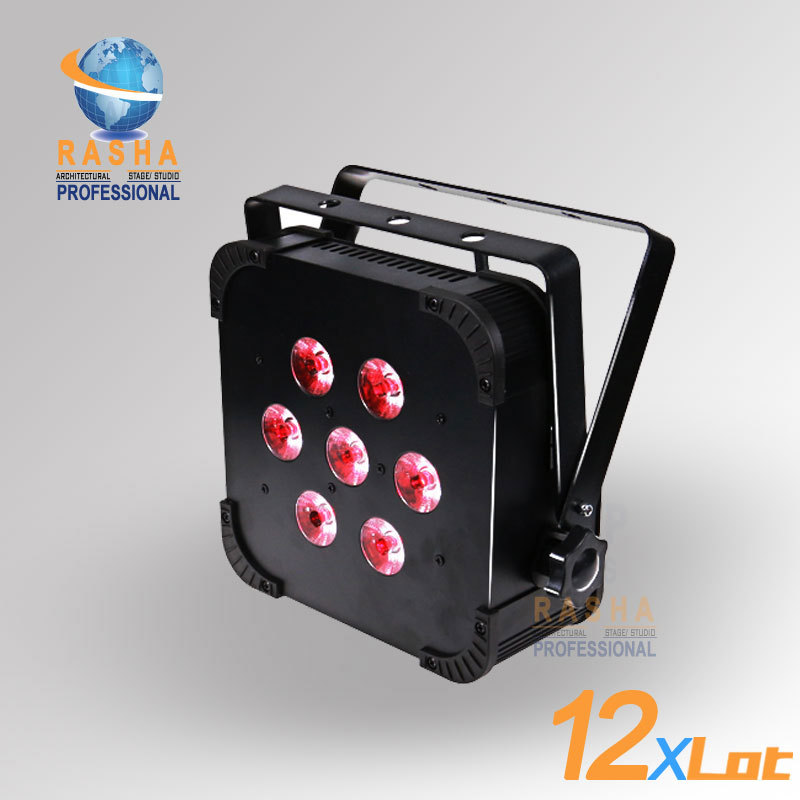 12X LOT New Arrival Wireless 7*18W 6IN1 RGBAW+UV LED Flat Par Can,RASHA LED Par Light,Disco Event Effect Light For Productions