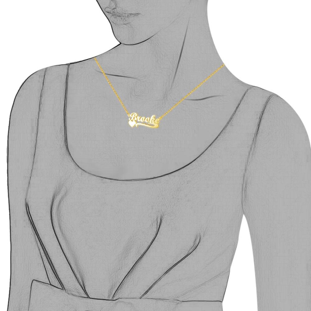 Xüsusi ad ürək boyunbağı 925 sterlinq gümüş qadınlar üçün - Gözəl zərgərlik - Fotoqrafiya 4