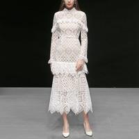 High End выдалбливают вязаный крючком белый длинное кружевное платье Для женщин 2019 весенние дизайнерские взлетно посадочной полосы платье с д