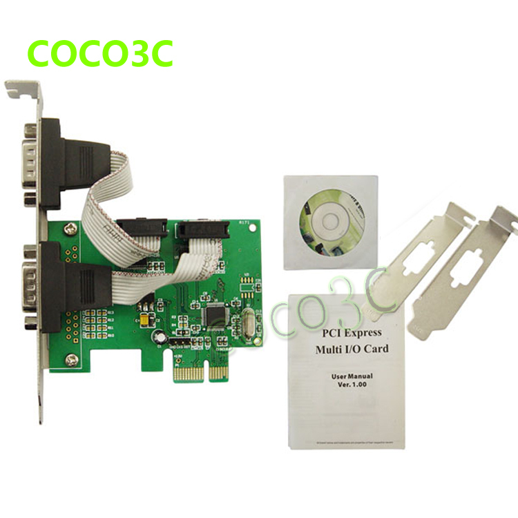 MOSCHIP MCS9922 PCIe 2 ports RS232 card PCI-e to  DB9 COM port adapter for POS Terminal Serial Networking Monitoring Equipment купить