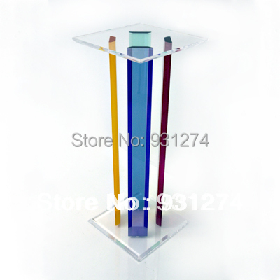 Square Plexiglass Pedestal Tables,acrylic Art Sculpture Pedestals,Lucite  Wedding Decoration Rainbow Flower Stand