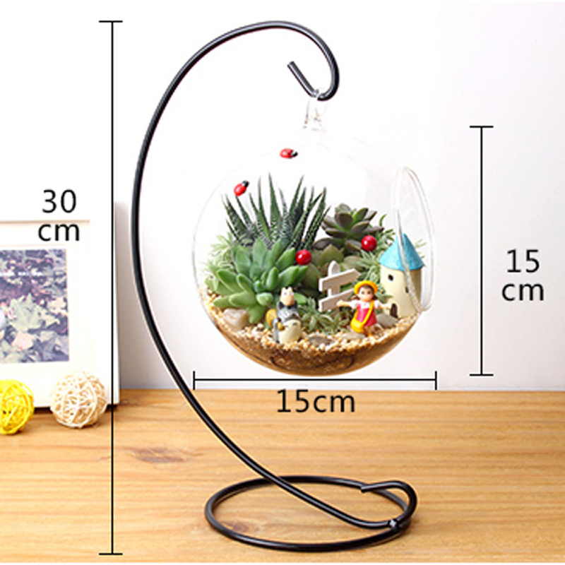 12 inch 30cm hanging holder crystal terrarium container without glass ball vase pot iron stand. Black Bedroom Furniture Sets. Home Design Ideas