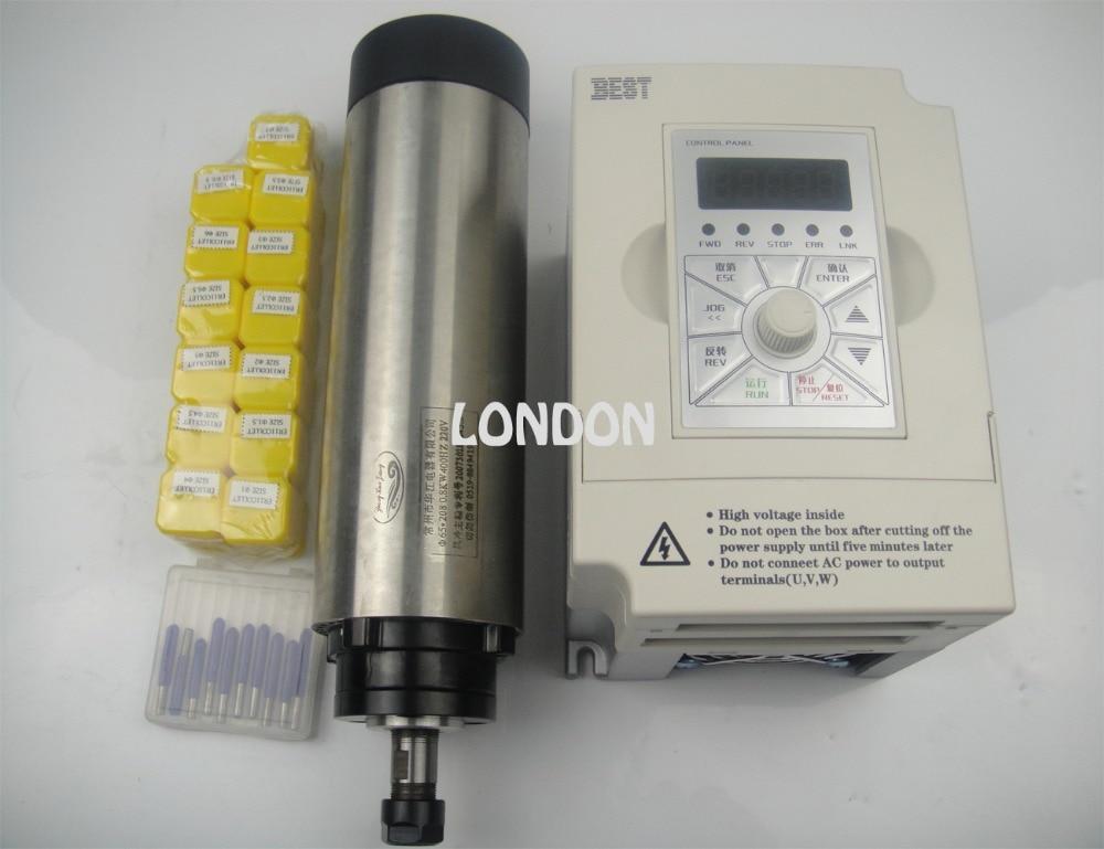 Kit mandrino CNC ER11 Motore mandrino raffreddamento aria 800w + inverter 1,5KW + pinze ER11 13 pezzi