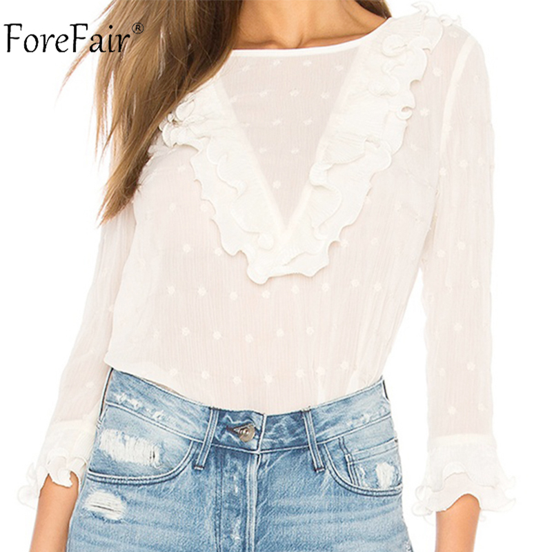 Forefai Dots Long Sleeve White Chiffon   Blouse   Women Autumn 2018 Ruffles Slim Casual Sexy   Blouse     Shirt   Lady