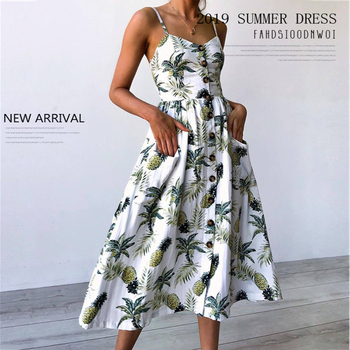 Sexy V Neck Backless Floral Summer Beach Dress Women White Boho Striped Button Sunflower Daisy Pineapple Party Flower Dresses