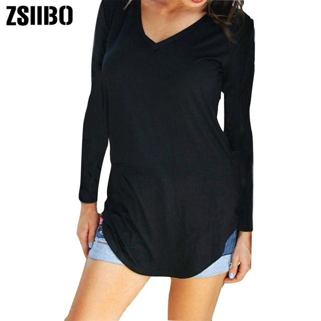 95a13e0387e6a9 Autumn winter T Shirt Large Sizes Women T-shirt Solid V Neck long Sleeve  Rounded Hem Long tshirt Casual Top female Tunic