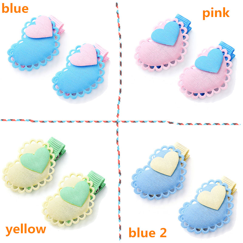 M MISM 2PCS Heart Girls Hairgrip Cute Hairpins Hair Accessories Ornaments Lovely Hair Clips for Kids Children m mism new lovely cute dot bow knot hair combs hair clip for children girls kids hairpins hair accessories ornaments hairgrip