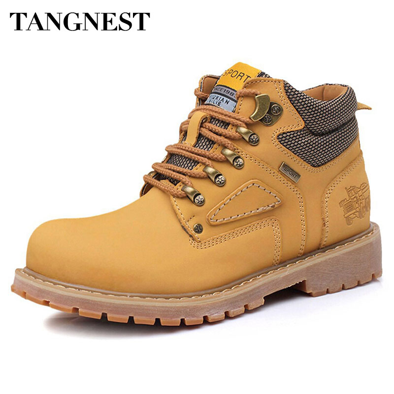 Tangnest Men Winter Ankle Boots Casual Lace Up Safety Work Shoes Male PU Leather High Top Shoes With Fur Man Snow Boots XMX521