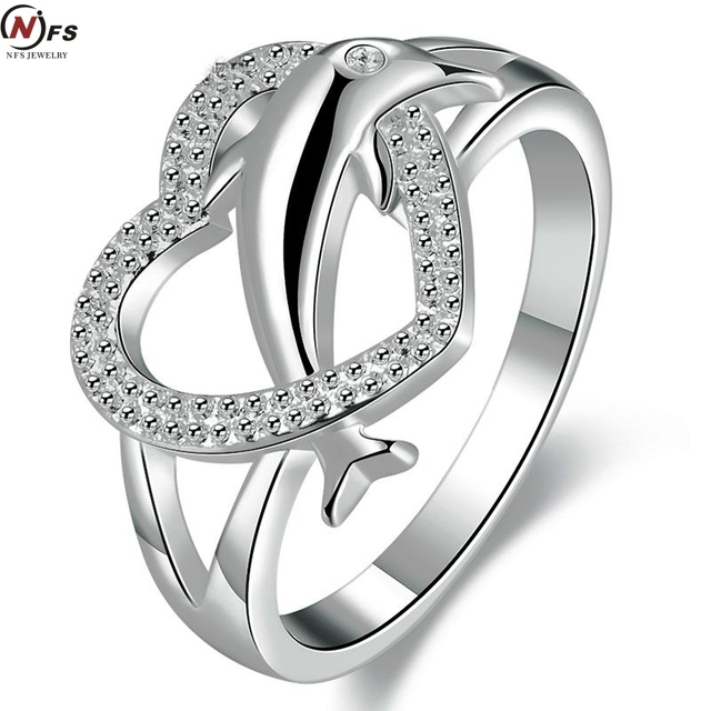NFS Heart Jewelry Micro Pave Silver Plated Dolphin Animal Rings