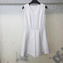 2019 Summer White Dress Casual Vestidos V Neck A-Line Women Mini Dress Sleeveless Dress Femme цены