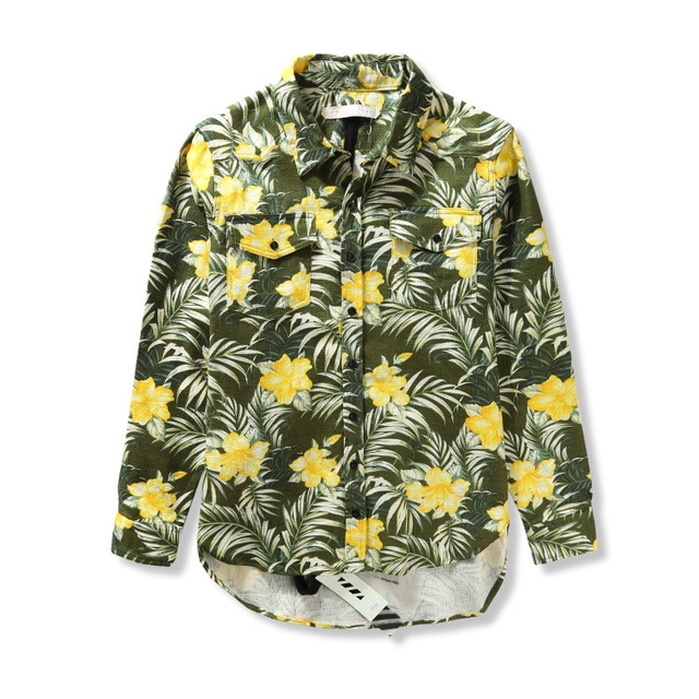 eefec216f336 Off White Virgil Abloh Floral Shirts Men Linen Clothing Oxford Social-shirt  Hawaiian Off-white Striped Shirt Mens Brand New 2015