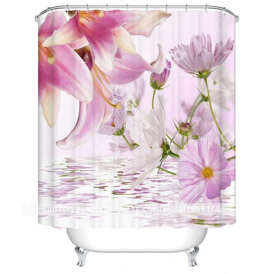 Charmhome dusche vorhänge breite polyester modernes bad duschvorhang spring flower bad vorhang für badezimmerchina