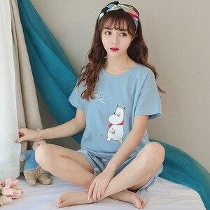 Image 3 - JRMISSLI Cute Womens Pajama Sets Print 2 Pieces Set Crop Top + Shorts women pajamas cotton Plus Size pajamas suit For Women