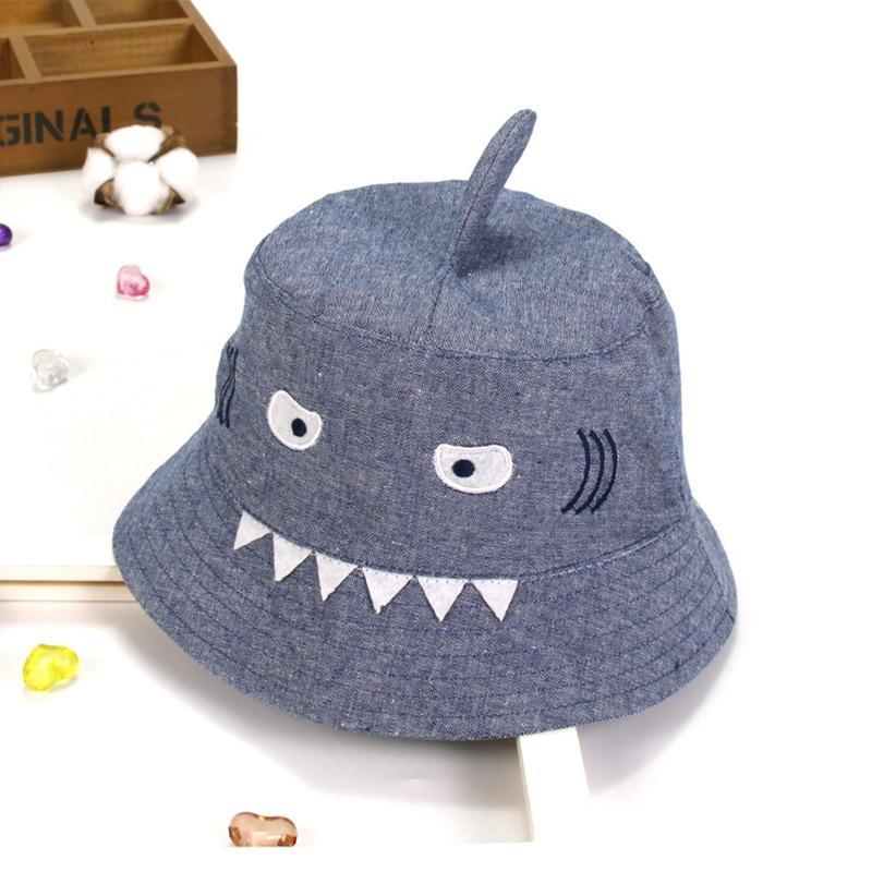 Summer 3-8 Years Old Baby Hats Children Denim Cotton Outdoor Sun Hat Cartoon Small Shark Design Toddler Bucket Cap Kids Products