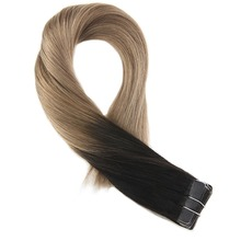 Moresoo Hair Extensions Tape in Human Real Remy Brazilian Ombre Color #1B Black Fading to Brown Skin Weft