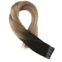 Moresoo Hair Extensions Tape in Human Hair Real Remy Brazilian Hair Ombre Color #1B Black Fading to Brown Skin Weft Extensions