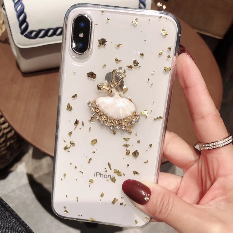 Tfshining Gold Foil Glitter Bling Case for iPhone X XS MAX 8 7 6 6S Plus Ballet Girl Silicone Clear Case TPU Back Shell Cover (11)