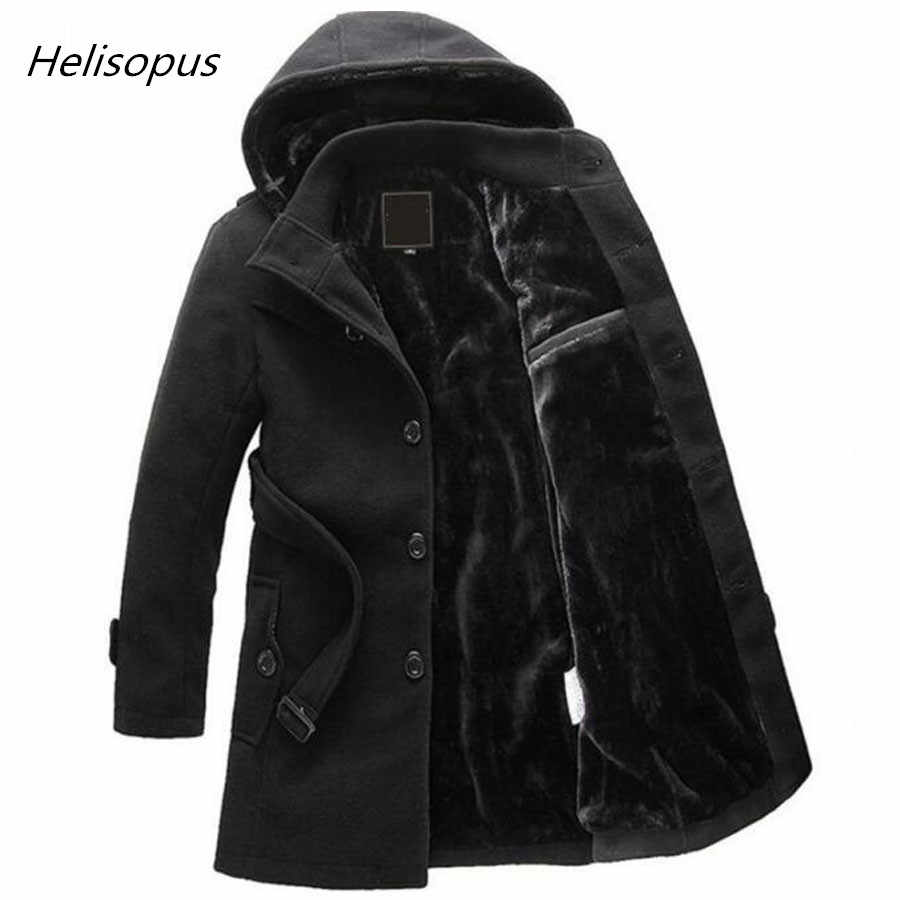 Helisopus Men Winter Thicken Warm Hooded Wool Coat Men's Windbreaker Parkas Trench Long Jacket