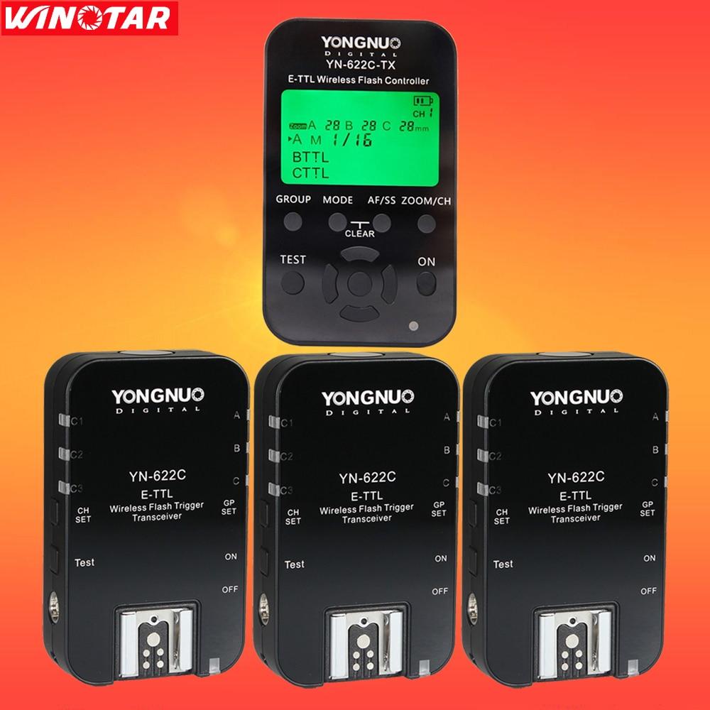 Yongnuo YN622C YN-622C 622C-TX YN622C-Kit Wireless TTL HSS Flash Trigger Set Transmitter + 3X Receivers for Canon DSLR Camera yongnuo yn685 yn 685 беспроводной доступ в эти speedlite флэш построить в ttl приемник работает с yn622c yn622ii c yn622c tx yn560iv yn560 tx