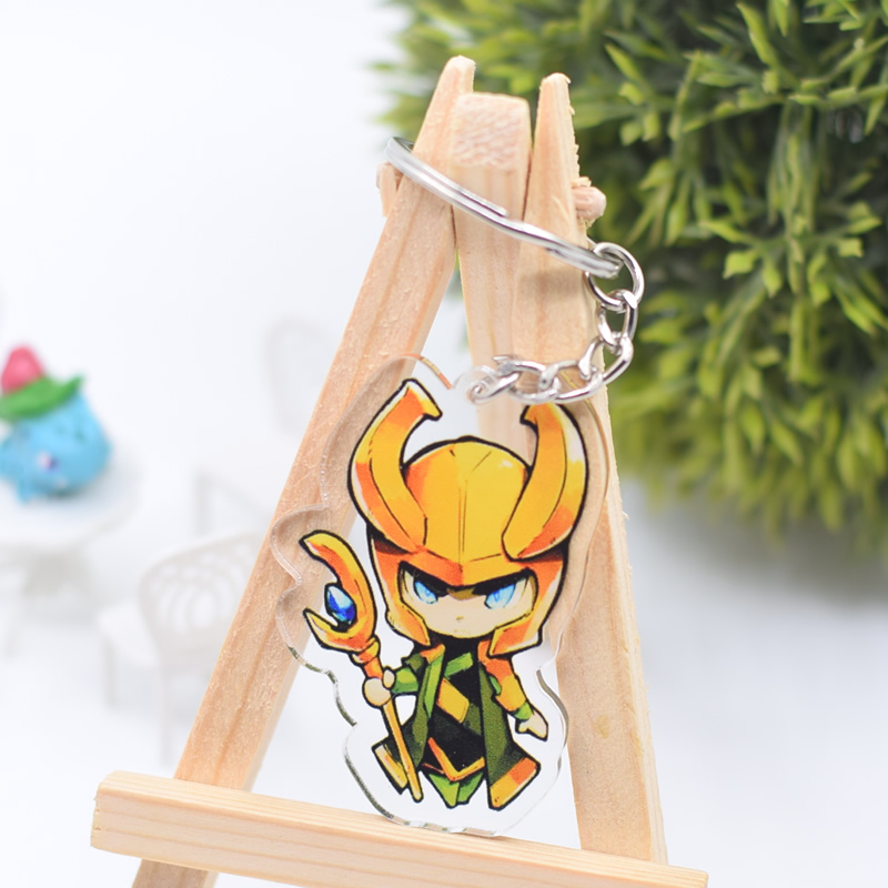 Loki Thor Keychain Cute Double Sided The Avengers Key Chain Pendant Anime Accessories Cartoon Key Ring DBS1P