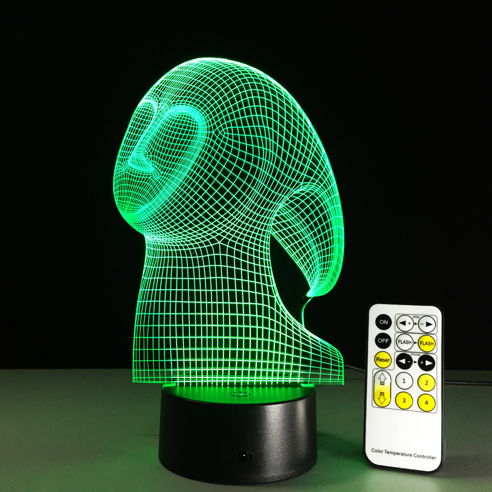Ghost LED 3D Stereo Vision Lamp Indoor Bedroom Light Acrylic Remote Touch Switch Light Creative Gift Colorful Change Table Lamp