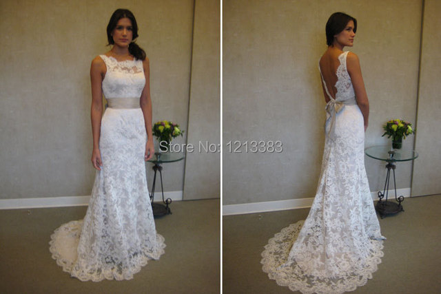 Stock Size Lace Up High Neck Detachable Belt White Open Back Wedding Dresses Bridal Gowns