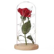 Распродажа Искусственные цветы из шелка пластиковая Роза ветка в колбе светодиодная Роза бутылка лампа День Святого Валентина подарок поддельные цветы