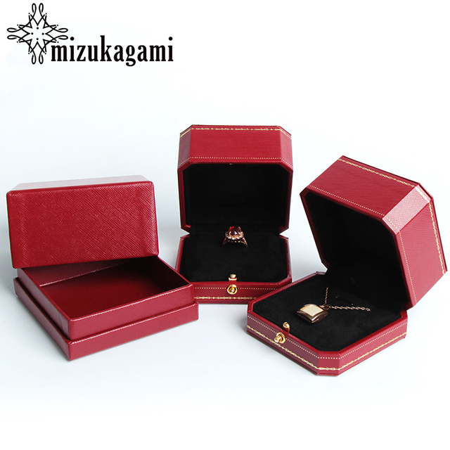 1Pcs High Quality Red Leather Jewelry Box Earrings Ring Necklace