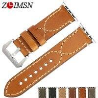 ZLIMSN Universal Watchbands Genuine Leather Watch Straps Men Belt Black 20mm 22mm 24mm 26mm Metal Pin