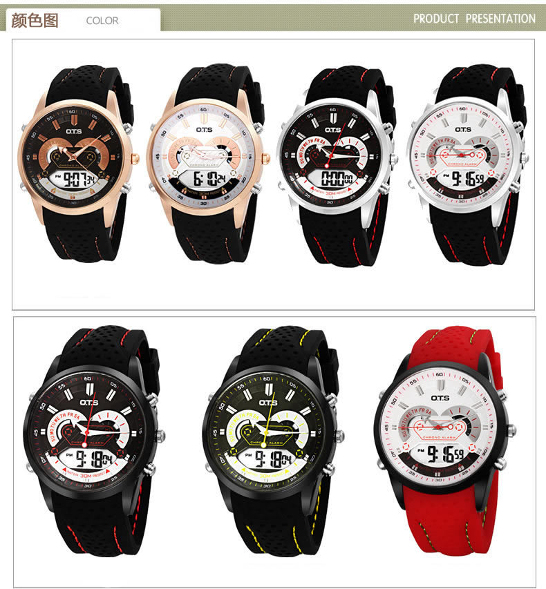OTS Outdoor Sport Man Stopwatch horloges mannenFashion&Causal Silicone Strap LED Digital Display Waterproof Gifts Clock Watches