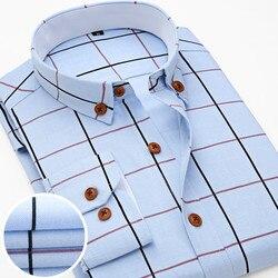 2016 New Oxford Plaid Casual Men's Shirt Slim Fit Formal&Business Occupation Man Shirts Spring Long Sleeve Men Dress Shirt M038 3