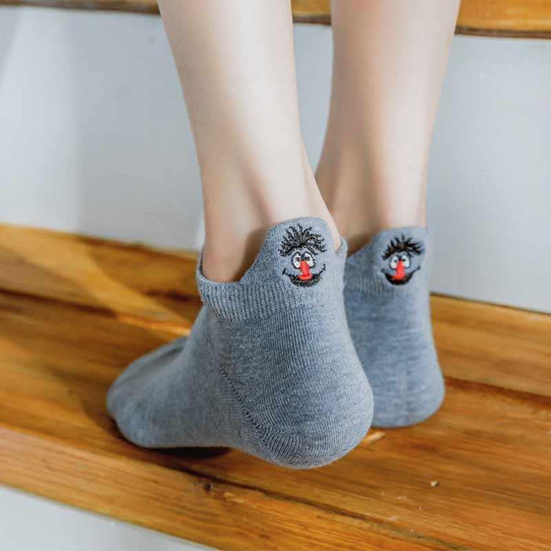 Kawaii вышитые экспрессии женские носки счастливые модные короткие носки забавные женские хлопковые летние 1 пара ярких цветов
