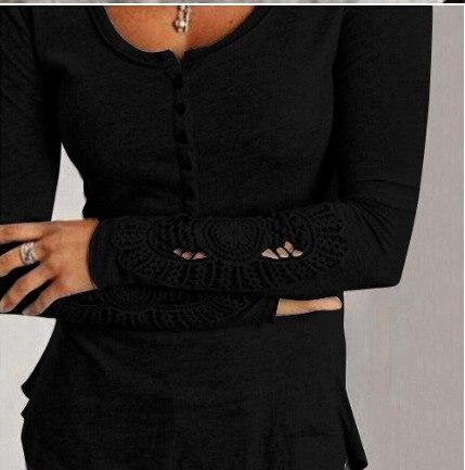 Coton Chemises Manches Tops Longues Casual Blanc Femmes Noir Couleur Nouvelle Blouse Lâche Dentelle Blusas Shirt Pur qwaO88