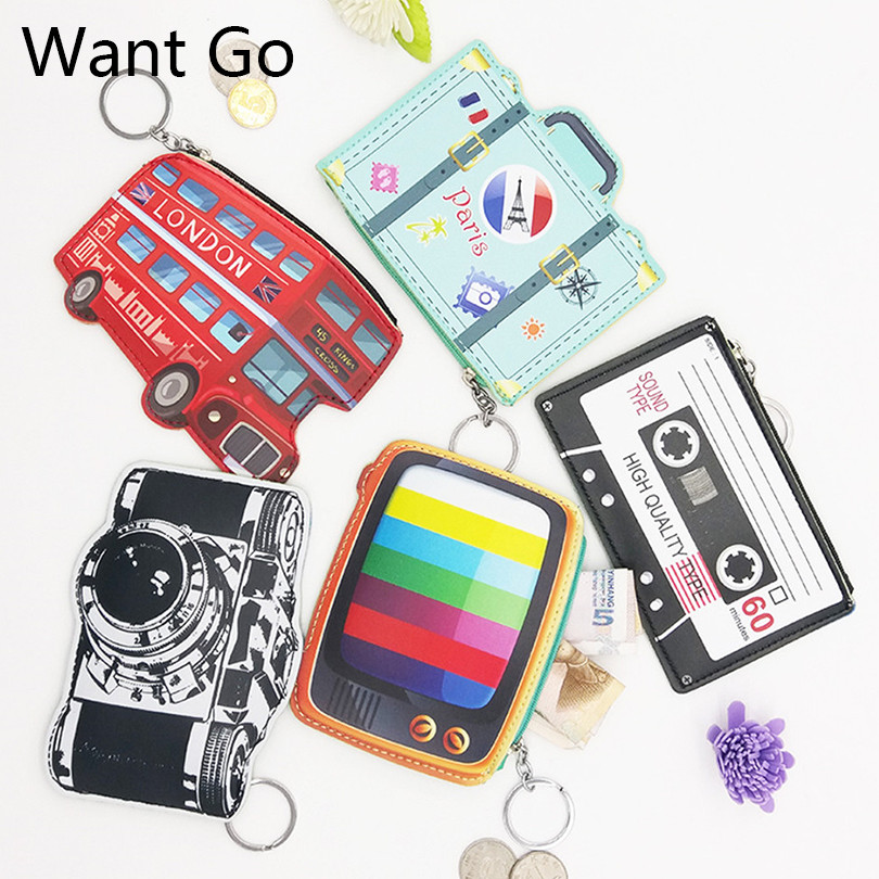 Want Go Fashion Zipper Women's Coin Purse Portable Cute Mini Cartoon Coin Wallet Purse Bag Waterproof Small Key Storage Bag south korea stationery creative cartoon cute kitten pu wallet key bag storage material