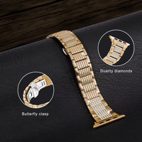 Luxury Butterfly clasp Stainless Steel link Bracelet for Apple Watch Band Diamond 38/40/42/44mm,For iwatch strap series 4/3/2/1