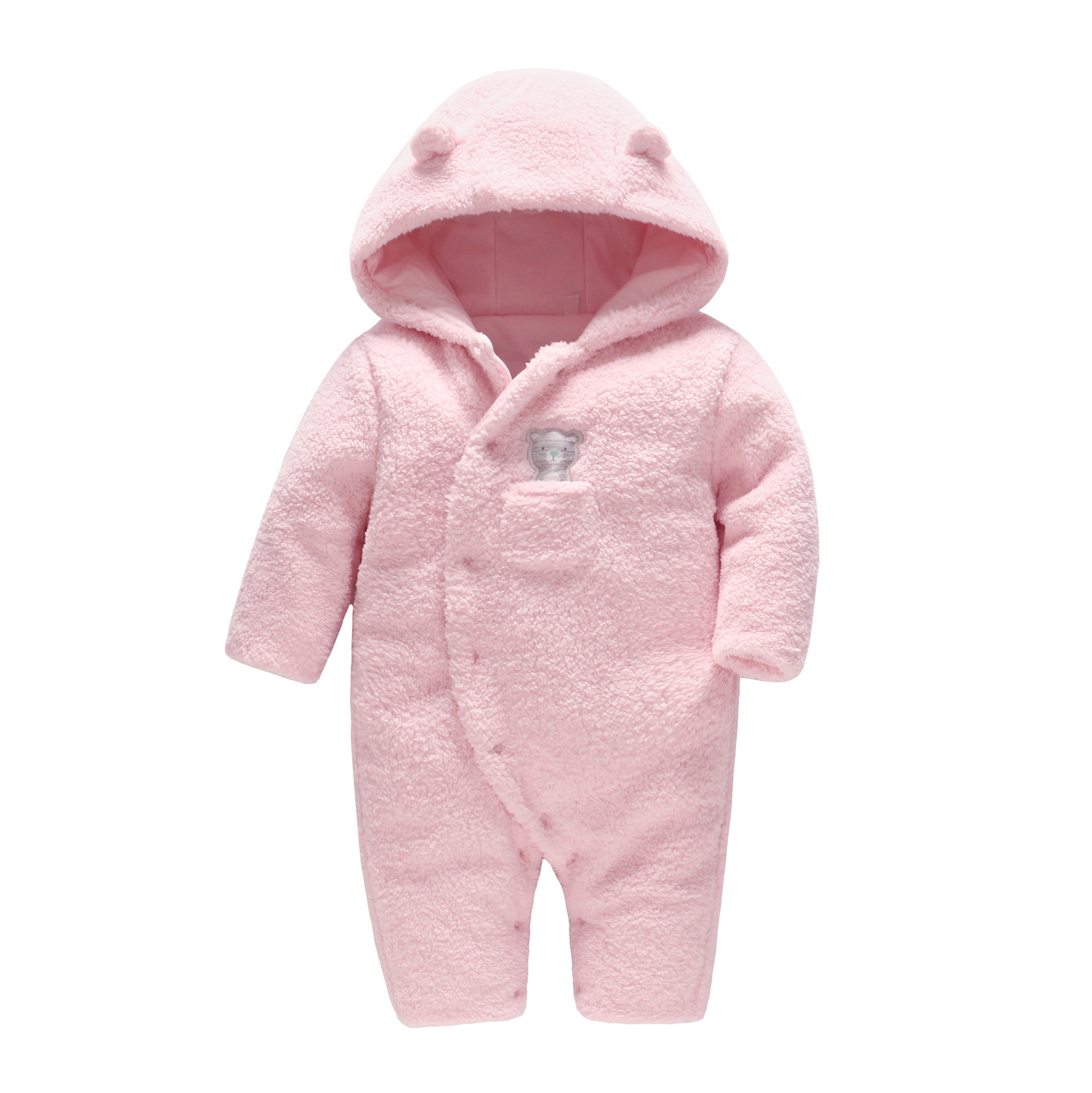Picturesque Childhood 2019 Winter Clothes Newborn Baby Pure Cotton Romper Pink Bear CLIP Thicken Baby Body Clothing ClimbingPicturesque Childhood 2019 Winter Clothes Newborn Baby Pure Cotton Romper Pink Bear CLIP Thicken Baby Body Clothing Climbing