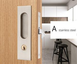 Image 3 - Mute Mortice Sliding Door Lock Hidde Handle Interior Door Pull Lock Modern Anti theft Room Wood Door Lock Furniture Hardware