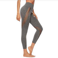 Mesh Transparent Fitness Leggings Capris Running Sports Breeches Women Yoga Tights Gym Clothes Workout Pants Female Black Gray