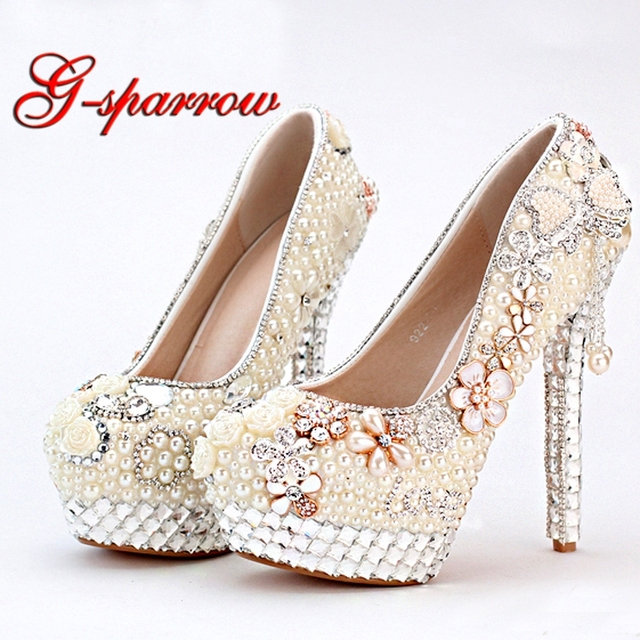f7ddf7384bcf Personalized 2018 High Heel Ivory Pearl Wedding Bridal Dress Shoes with  Tassel Shape Evening Prom Party