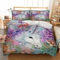 Unicorn Bedding Set Plant Duvet Cover Pillow Cases Twin Full Queen King UK Double AU Single Size 3D Bed Linen Set 3pcs